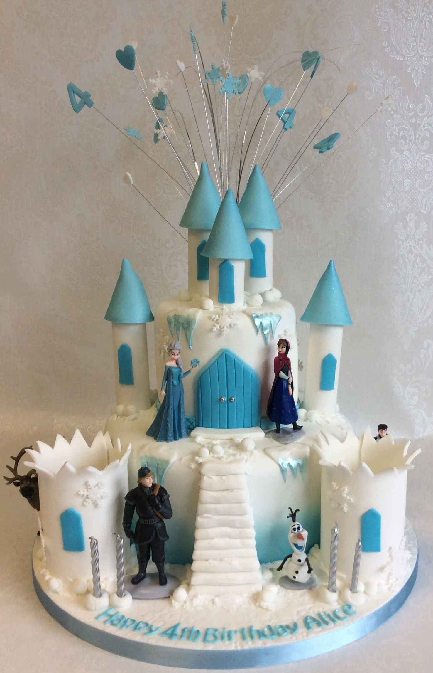 Admirable Small 2 Tier Frozen Castle With Set Of 6 Non Edible Character Funny Birthday Cards Online Overcheapnameinfo