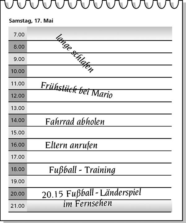 Abbildung Terminkalenderblatt Prüfungsteilnehmer/in A