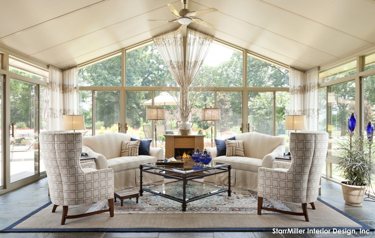 Amazing warm cream sunroom interior design with great for How to design a sunroom
