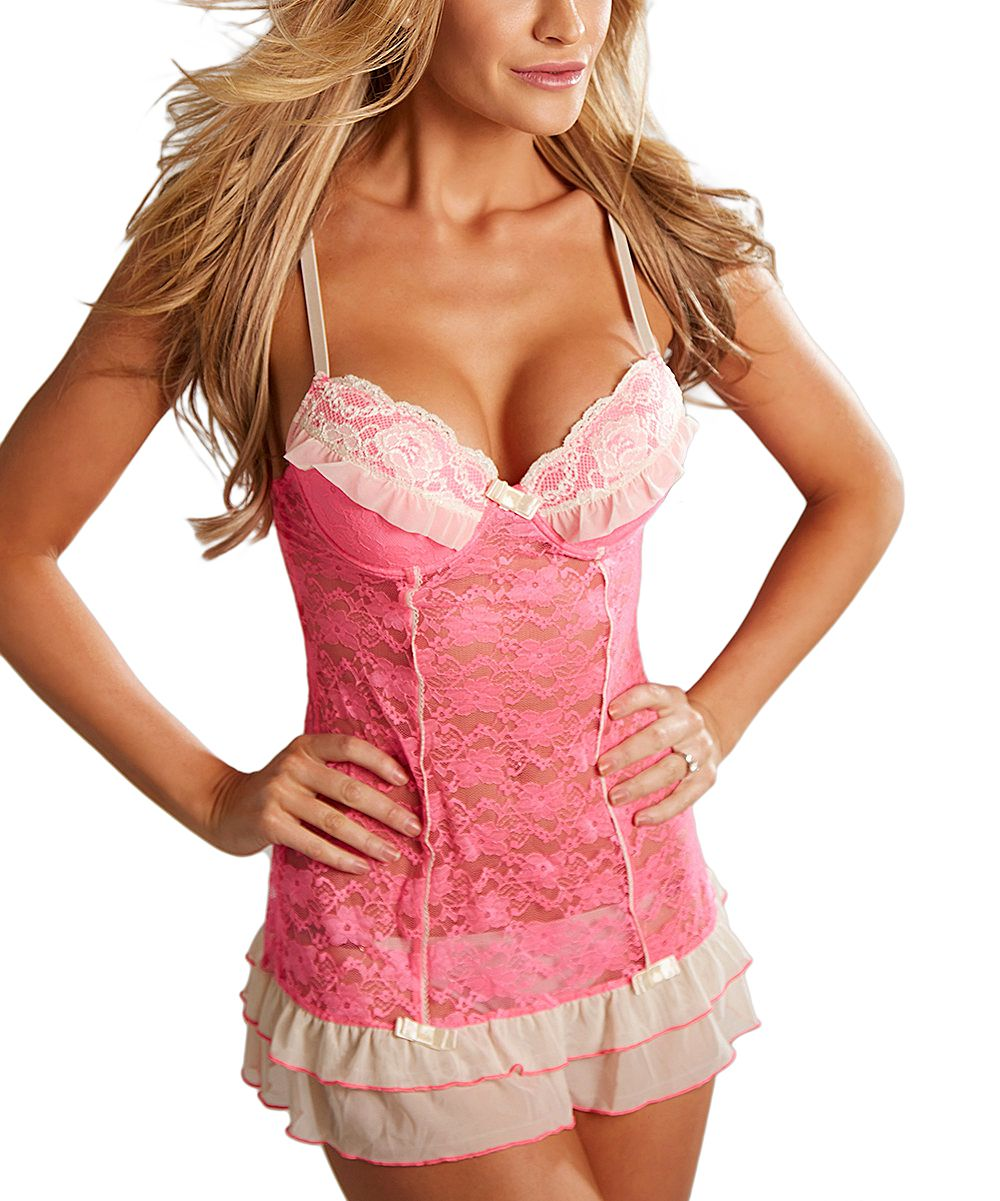 Hot Pink & Ivory Lace Babydoll & Thong - Plus   Hot pink, Ivory and ...