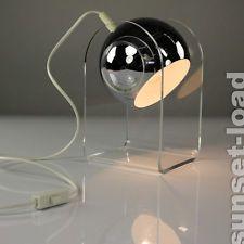 Alte Chrom Kugel Lampe Lese Leuchte Licht Plexi Glas Fuß 60er 70er Jahre  Vintage