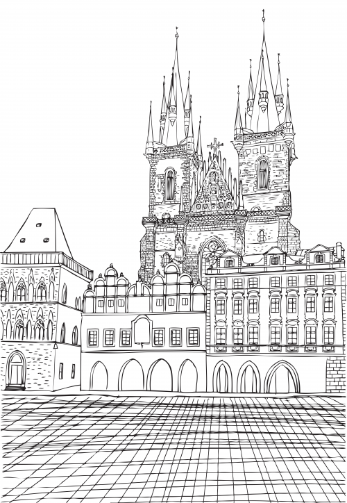 munich town hall coloring page architecture coloring pages for adults coloring pages. Black Bedroom Furniture Sets. Home Design Ideas