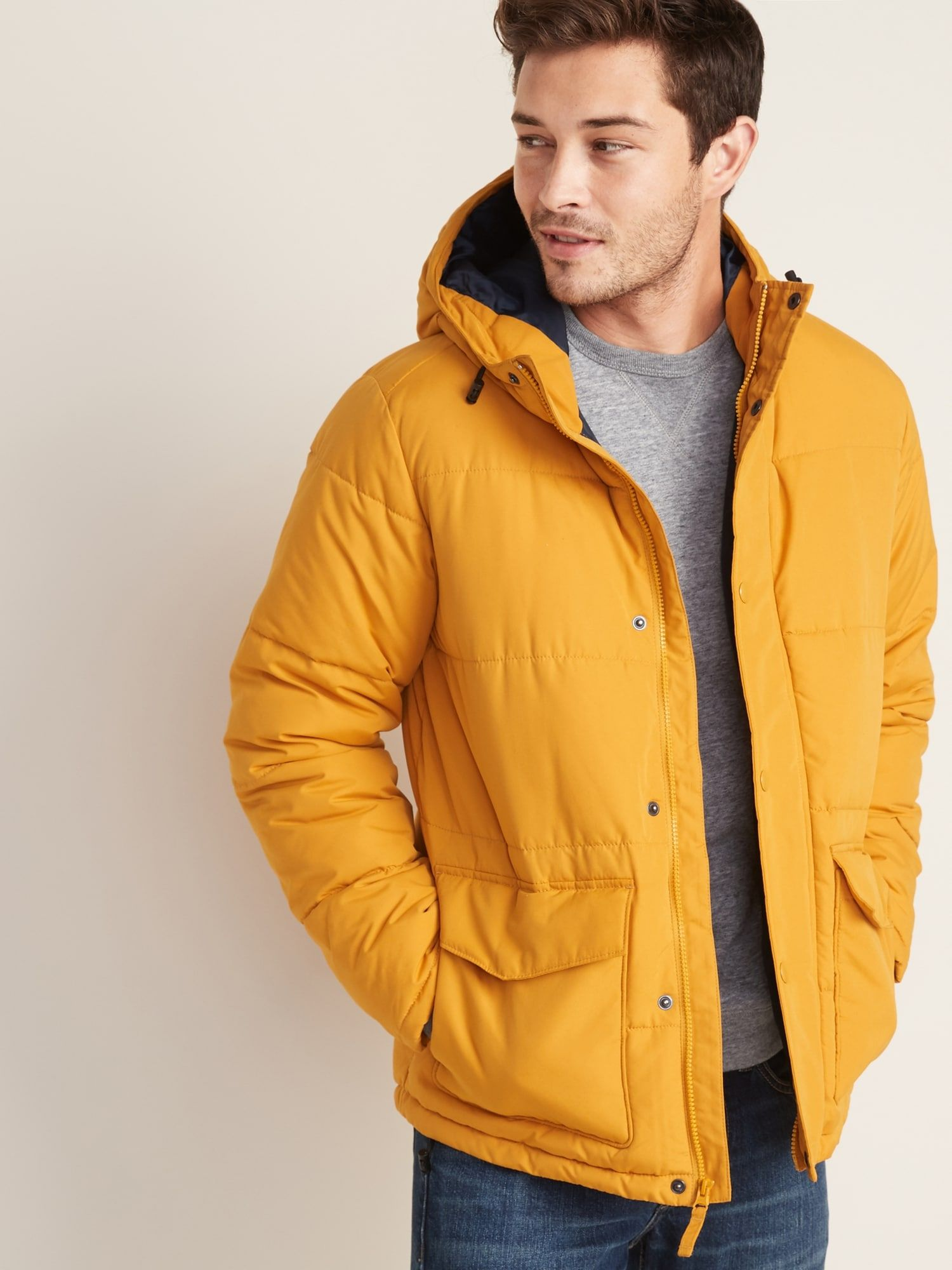 Water-Resistant Hooded Puffer Jacket For Men   Puffer ...
