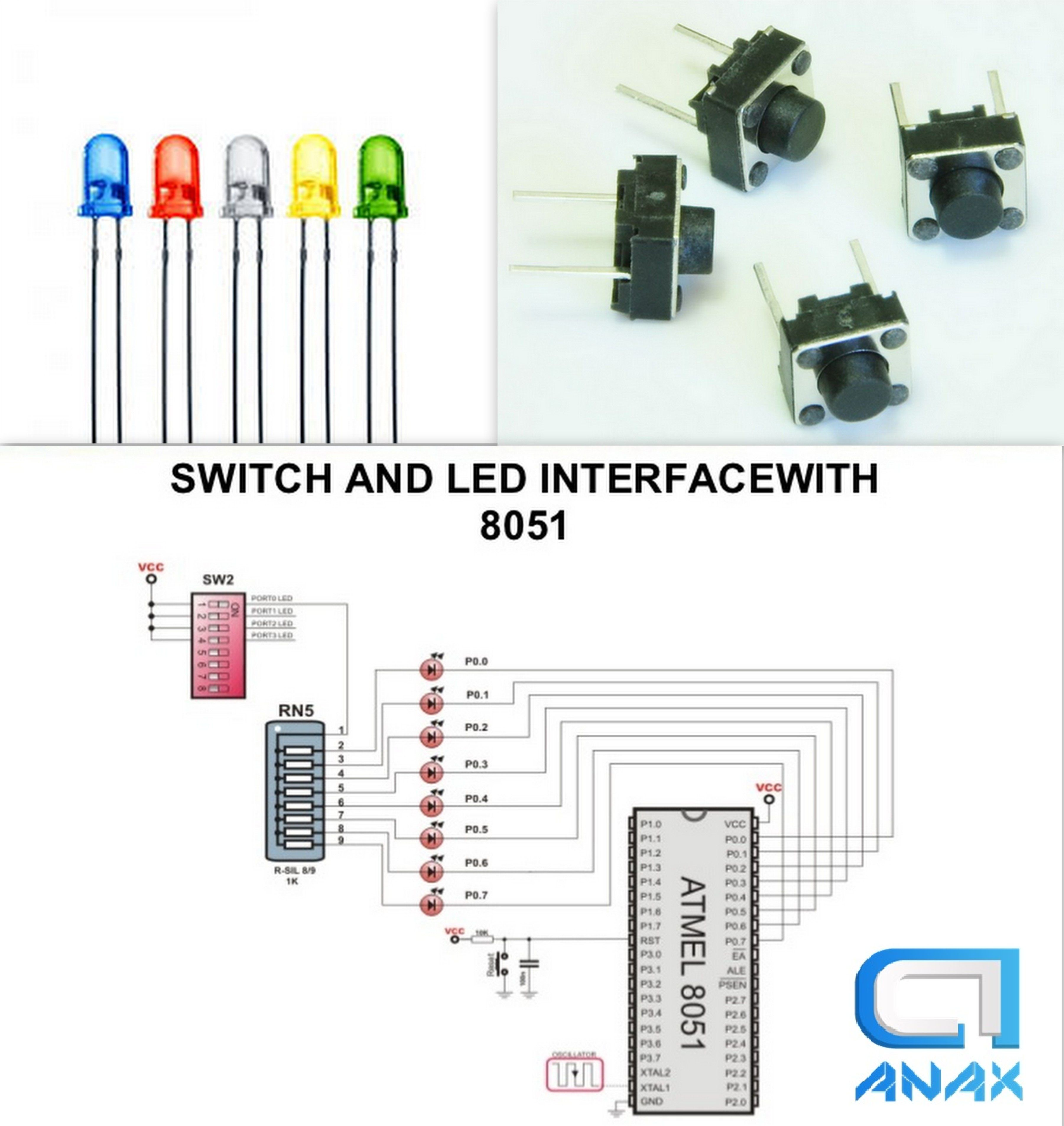Switch And Led Interface With Microcontroller 8051 Automation Circuitdiagramtointerfaceglcdwith8051
