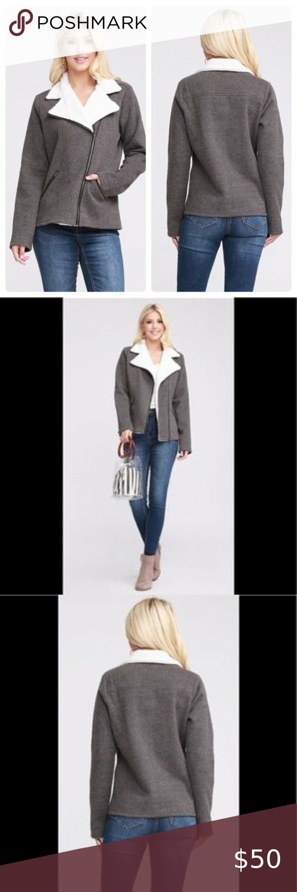 Sherpa Lined Moto Jacket with Asymmetric Zip. New! in 2020