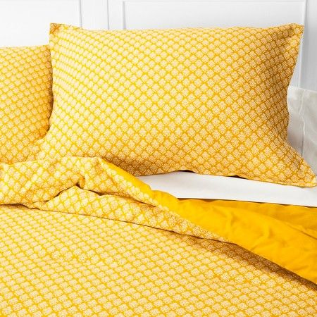 mini floral comforter set (full/queen) yellow 3pc - threshold