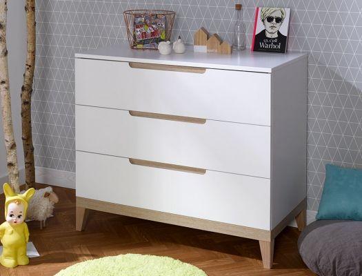 Commode Enfant 3 Tiroirs Evidence Blanc Et Hetre Design