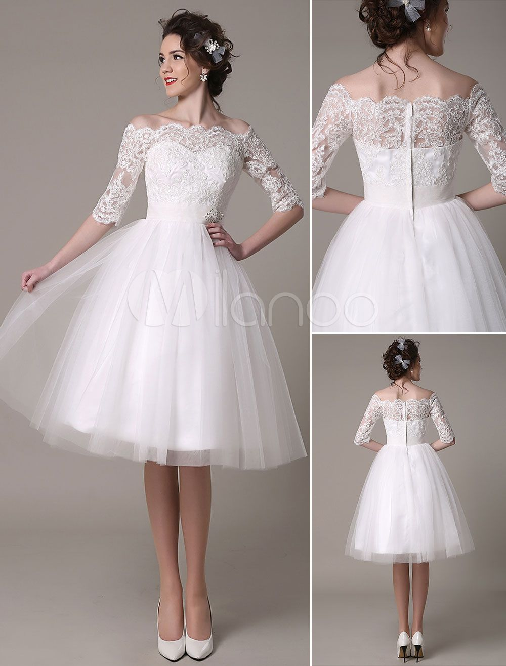 Lace Wedding Dress A-Line Knee Length Waist Rhinestone Bridal Dress Milanoo