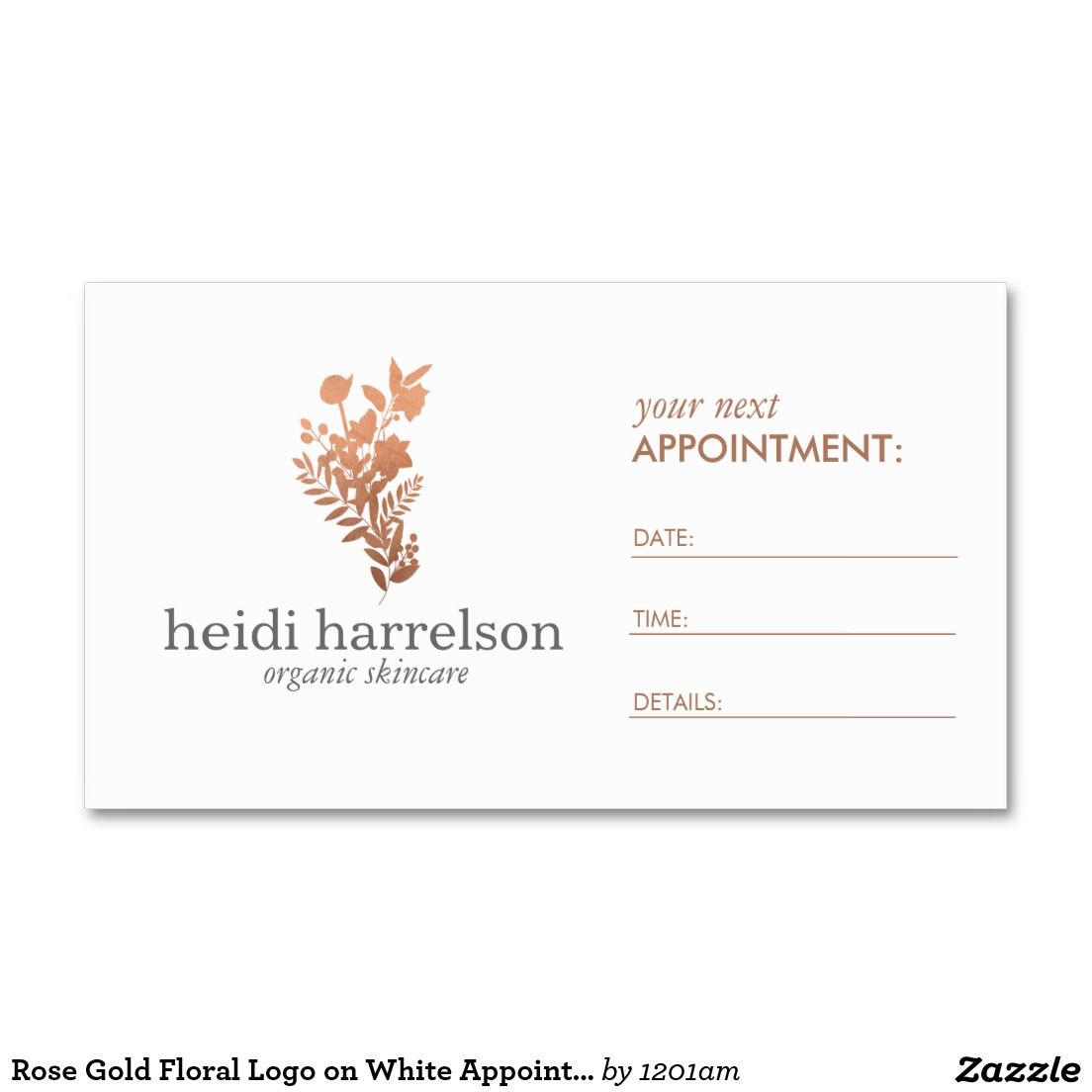 Rose Gold Floral Logo on White Appointment Business Card - Brand ...