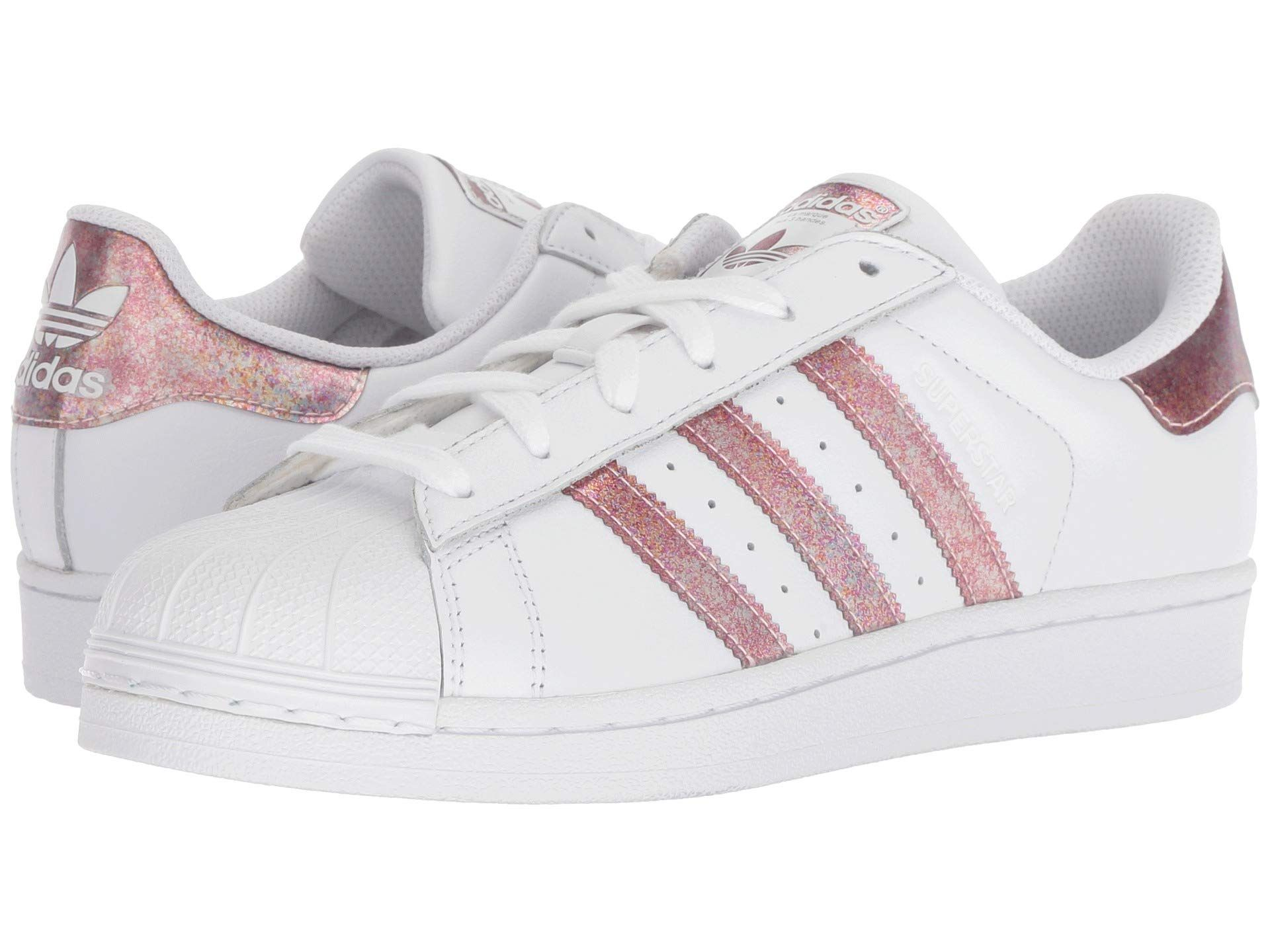 845d17f499d5a Adidas Little Girls  Morales superstar sparkly pink striped white sneakers size  13