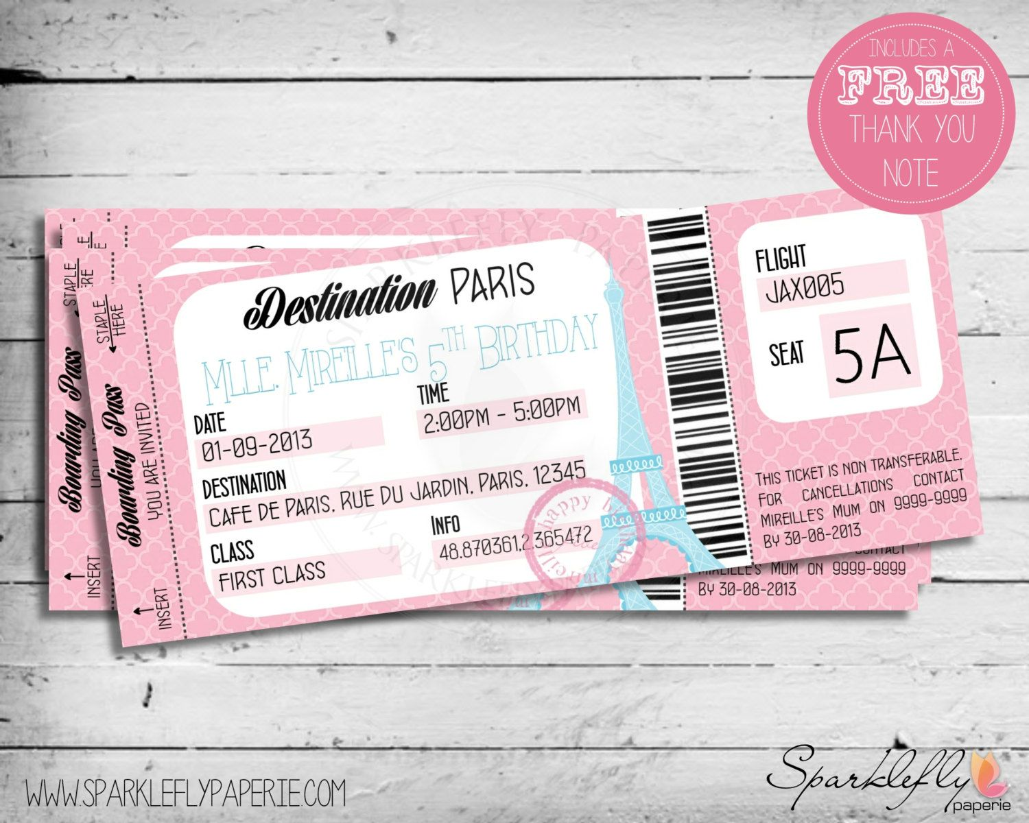 Paris themed boarding pass ticket birthday by sparkleflypaperie a boarding pass to paris ticket style invitation for your french parisian themed birthday party in pink and blue it contains the eiffel stopboris Gallery