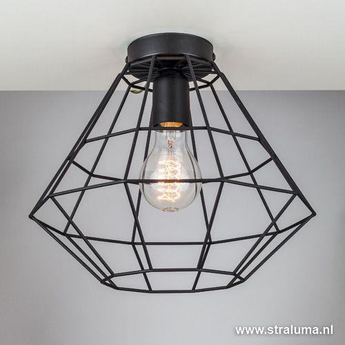 draad plafondlamp zwart hal wc keuken