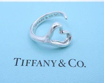 67068017e Authentic Tiffany & Co Elsa Peretti Open Heart Ring - Sterling Silver Open  Ring - Size 6 3/4 - Designer - Vintage Tiffany - Valentine # 4369