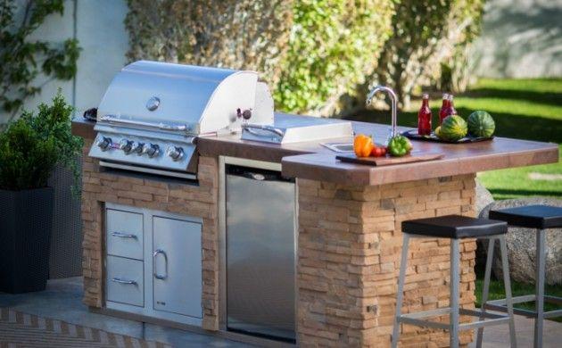 außenküche selber bauen natursteine eingebaute küchengeräte grill ...