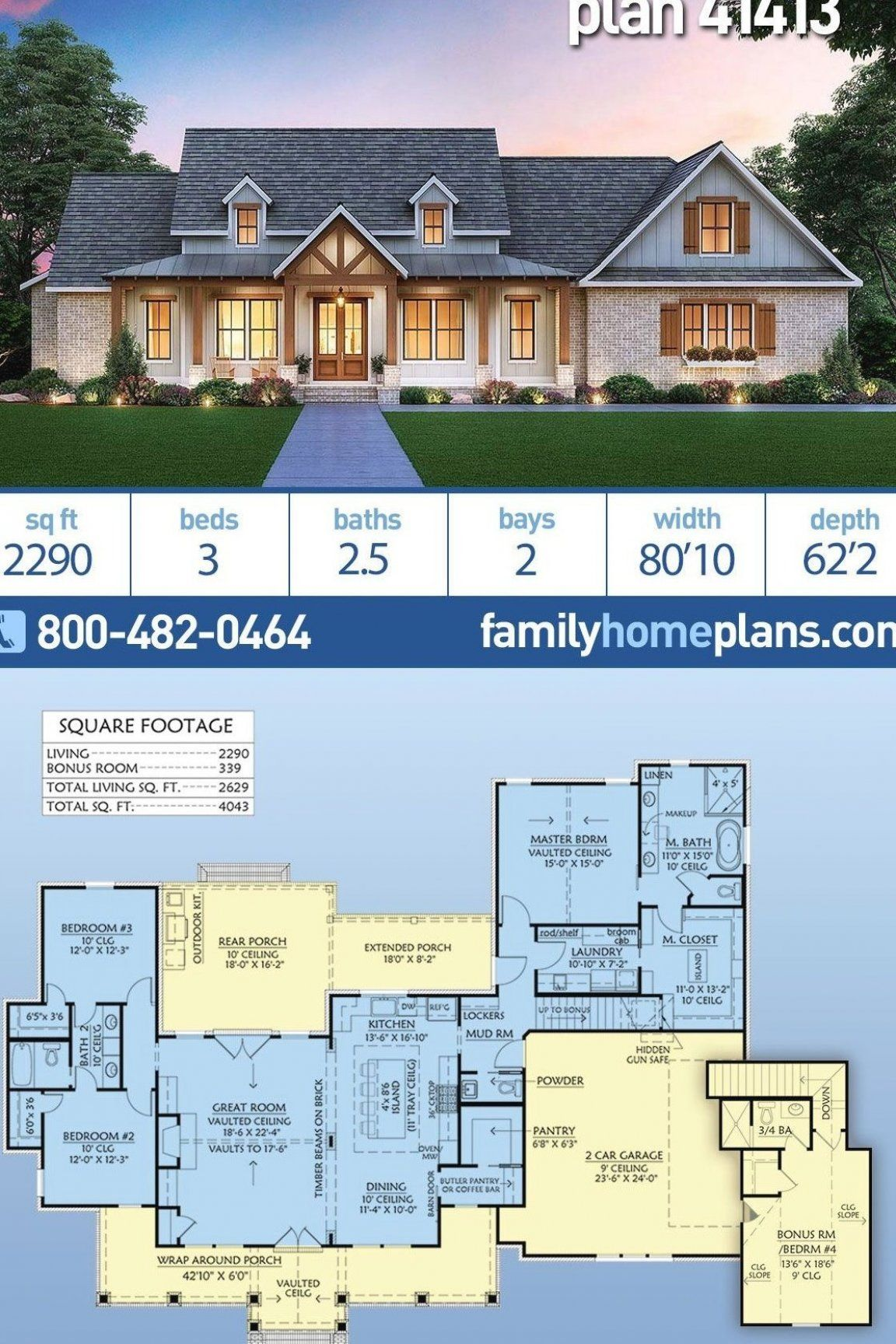 Elegant Farmhouse Home Plan With Just Almost 2300 Square Feet Of Heated Living Space A Three Bedro In 2020 Country Living Design House Plans Farmhouse Farmhouse Homes