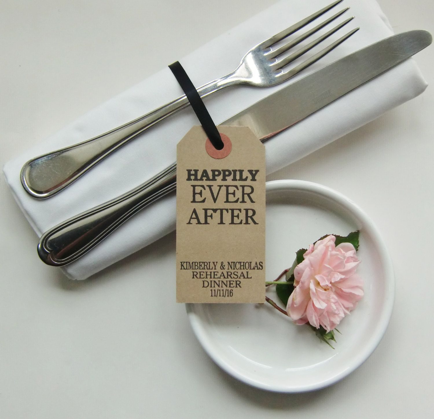 Rehearsal Dinner: Rehearsal Dinner Place Cards-HAPPILY EVER AFTER-Rehearsal