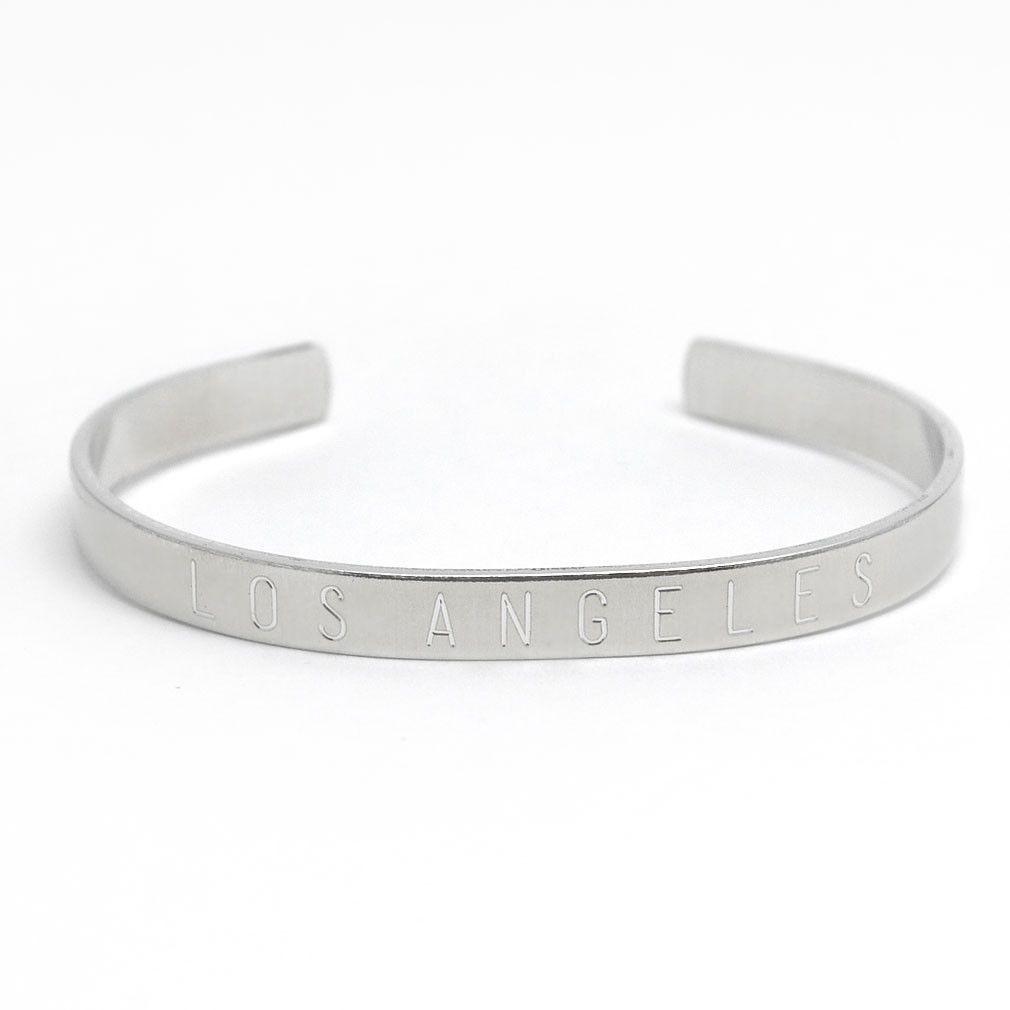 Silver Los Angeles Adjustable Cuff Bangle