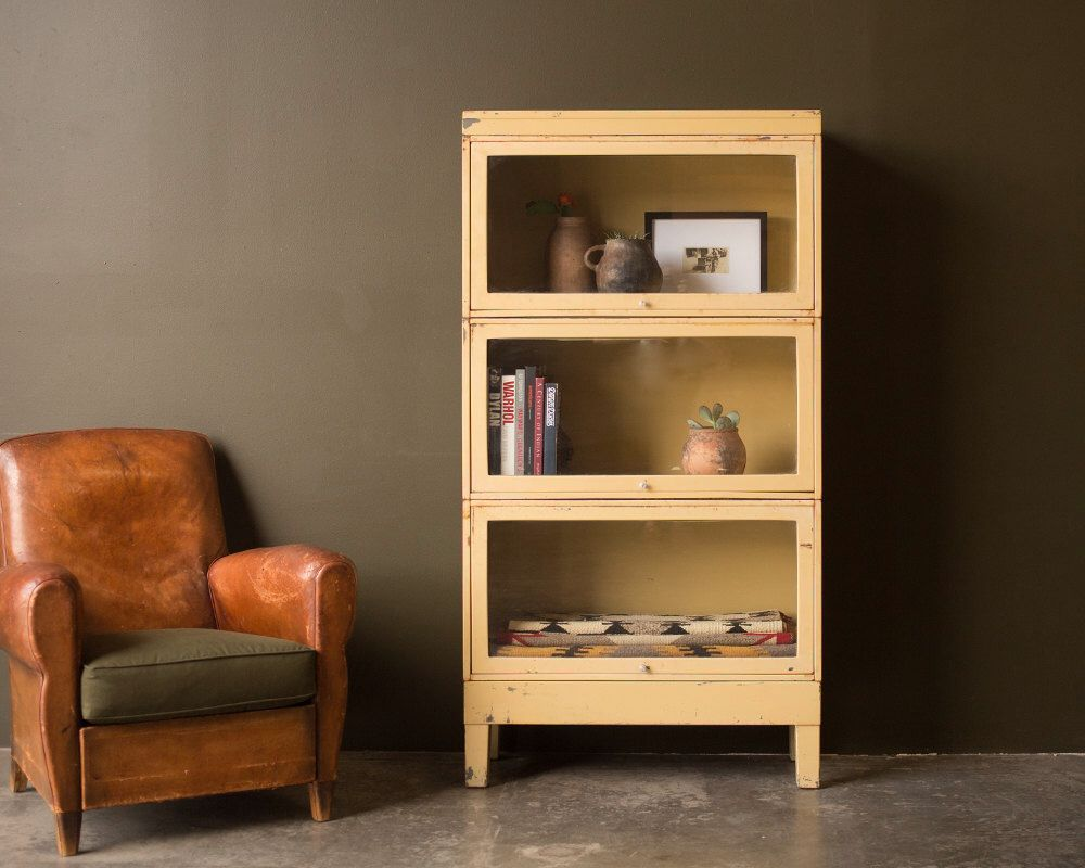 Vintage Home Decor / 1940\'s / Metal Barrister Cabinet In Cream Color ...