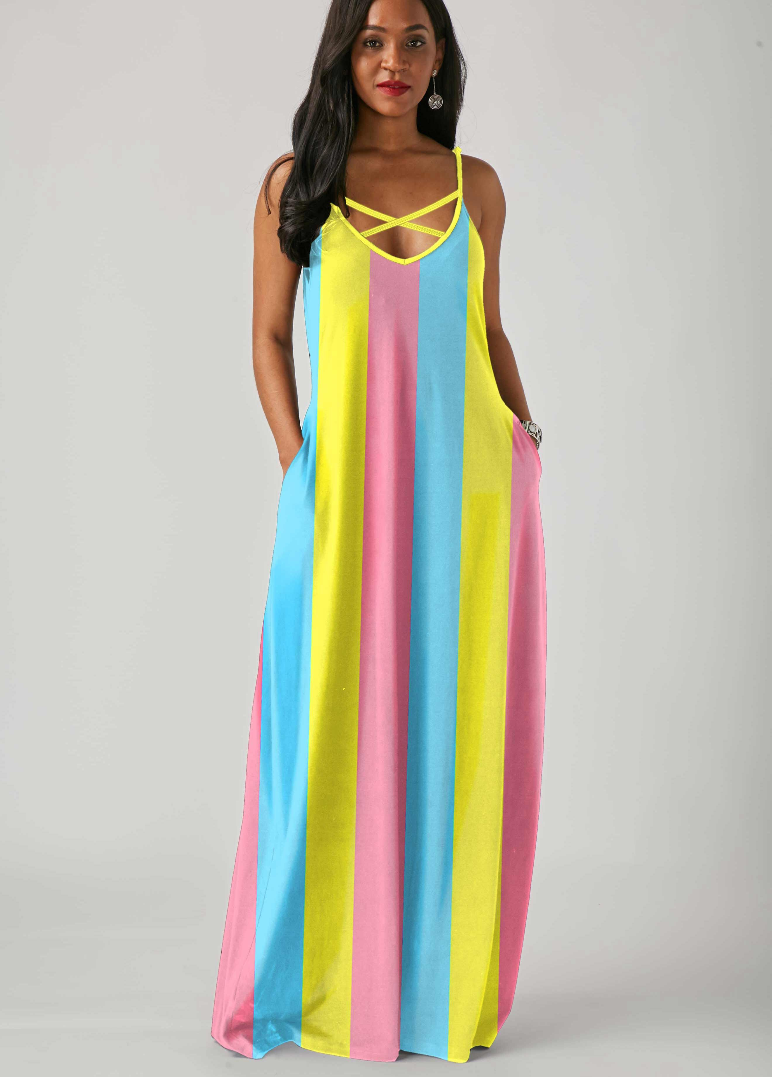 Rotita Com Usd 24 99 Maxi Dress Spaghetti Strap Maxi Dress Bohemian Casual Dress [ 3683 x 2640 Pixel ]