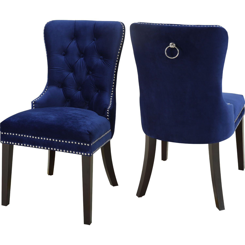Meridian Furniture 740navy C Nikki Dining Chair Tufted Navy Blue Velvet Nailhead Trim Set Of 2 In 2020 Gray Dining Chairs Velvet Dining Chairs Luxury Dining Room