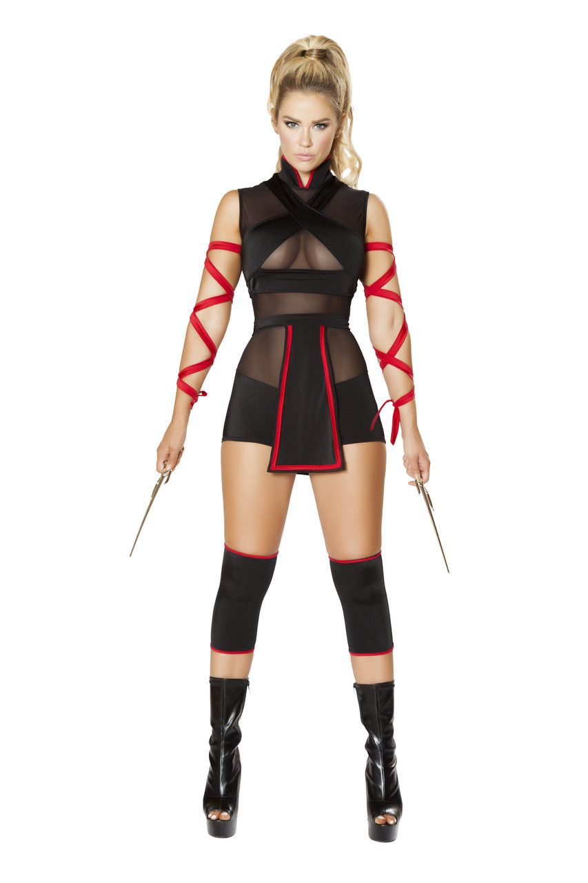 Sexy Roma Black Red Ninja Striker Deadly Assassin Japanese Warror Cosplay  Halloween Party Costume