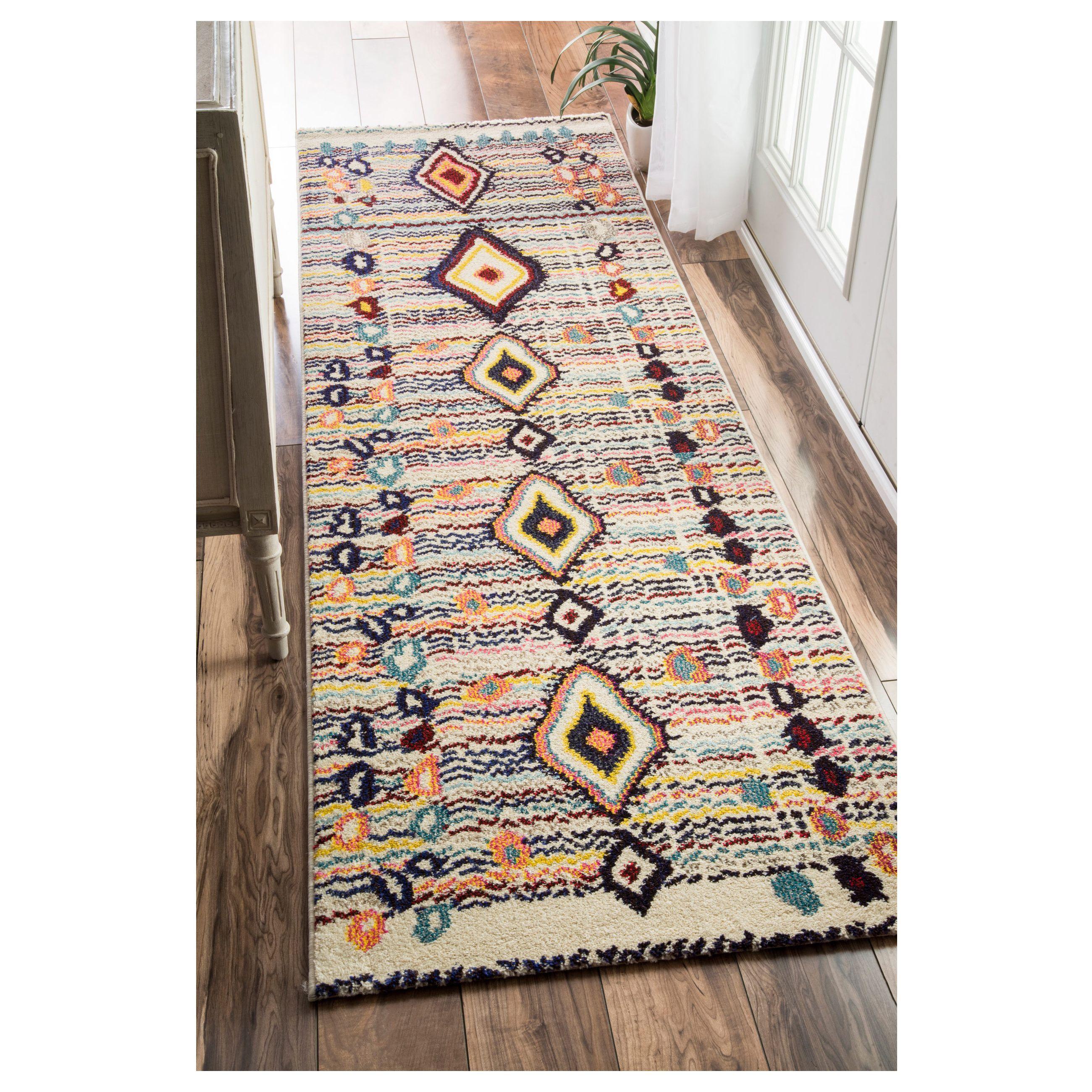 Hallway carpet runners sold by the foot  nuLOOM Moroccan Striped Diamonds Multi Runner Rug u x u by Nuloom