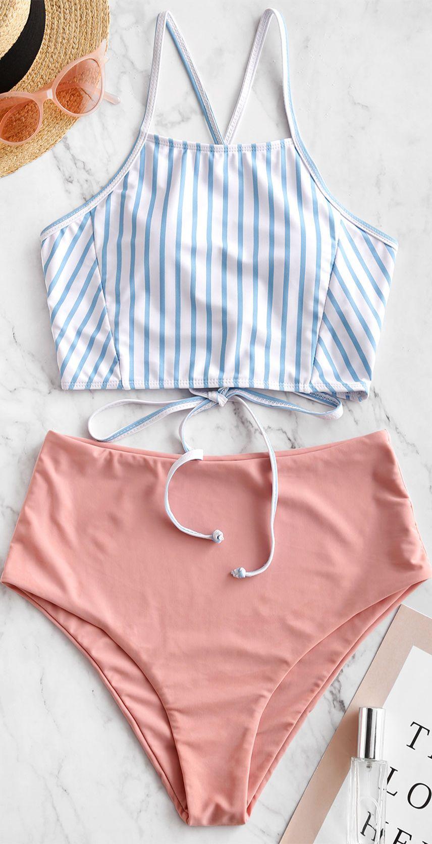Crisscross Lace-up Striped Tankini Swimsuit