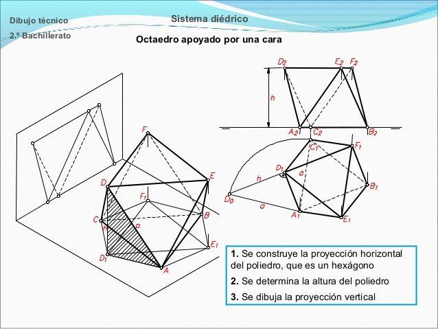 Dibujo técnico  Sistema diédrico  2.º Bachillerato  Octaedro apoyado por una cara  1. Se construye la proyección horizonta...
