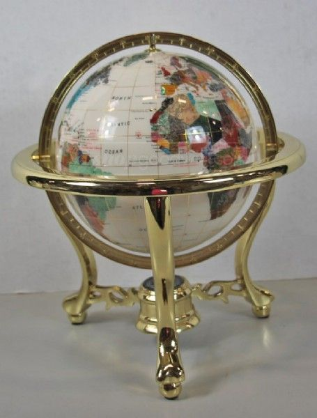 shopgoodwill.com: Mother Of Pearl Stone World Globe - Home Decor