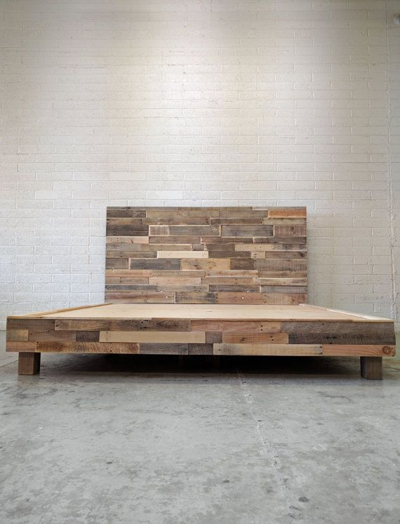 Reclaimed wood platform bed base natural twin full queen king cali ...