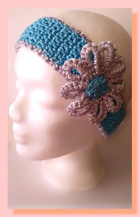 bandeau au crochet coton satiné accessoirisé de sa fleur : Accessoires coiffure par chely-s-creation