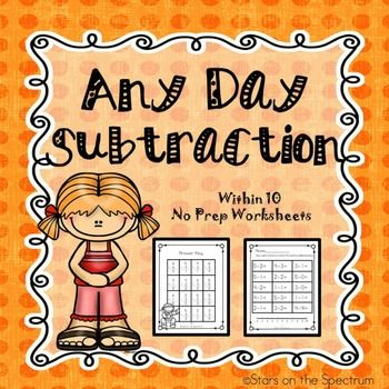 Subtraction Worksheets - Within 10 - Seizoenen, Student en Werkbladen - subtraction table