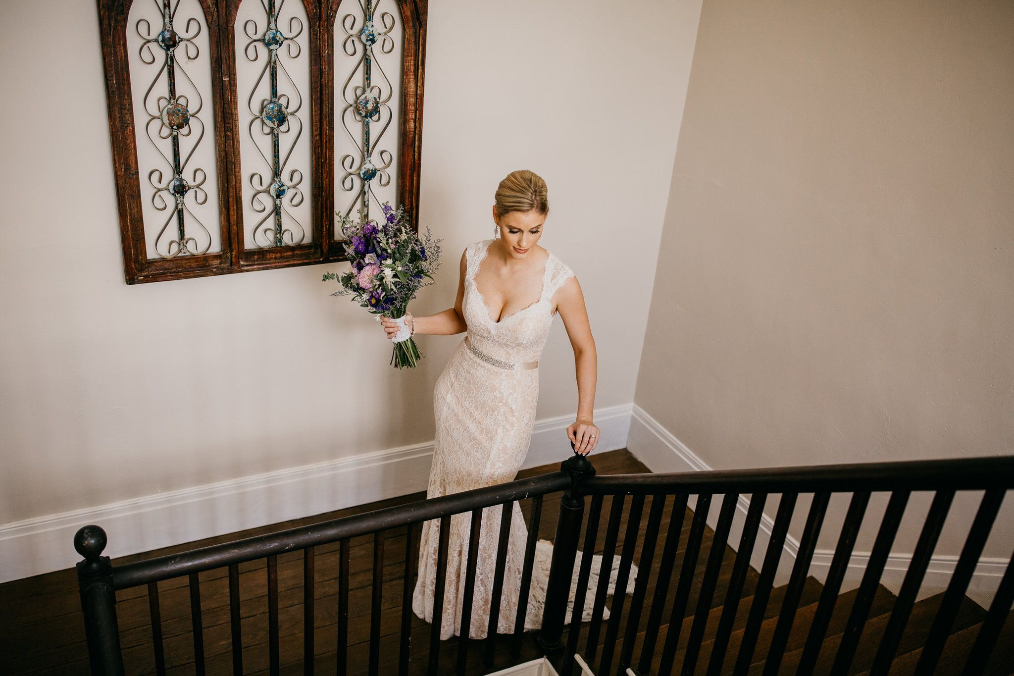 House of brides wedding dresses  Bride on our vintage staircase  The house and grounds  Pinterest