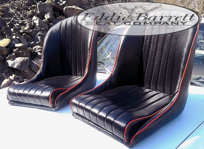 Sb Low Back Bucket Bomber Style Seat Black Vinyl Red Hot Rod