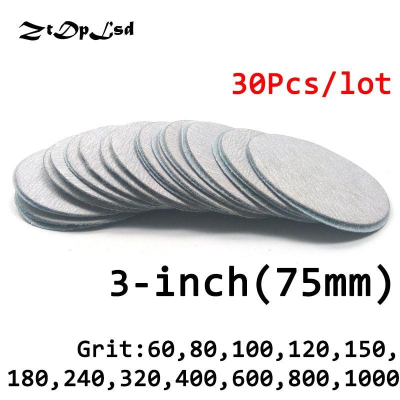 Ztdplsd 30 Pc Lot Dry Grinding 3 Inches 75mm Abrasive Paper Flocking Sandpaper Pad Sanding Disc Electric Grinder Accessori Grinder Accessories Abrasive Sanding