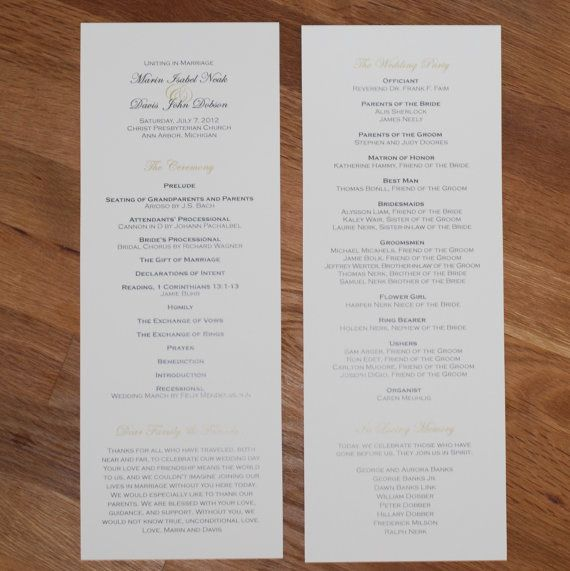 Elegant Wedding Programs