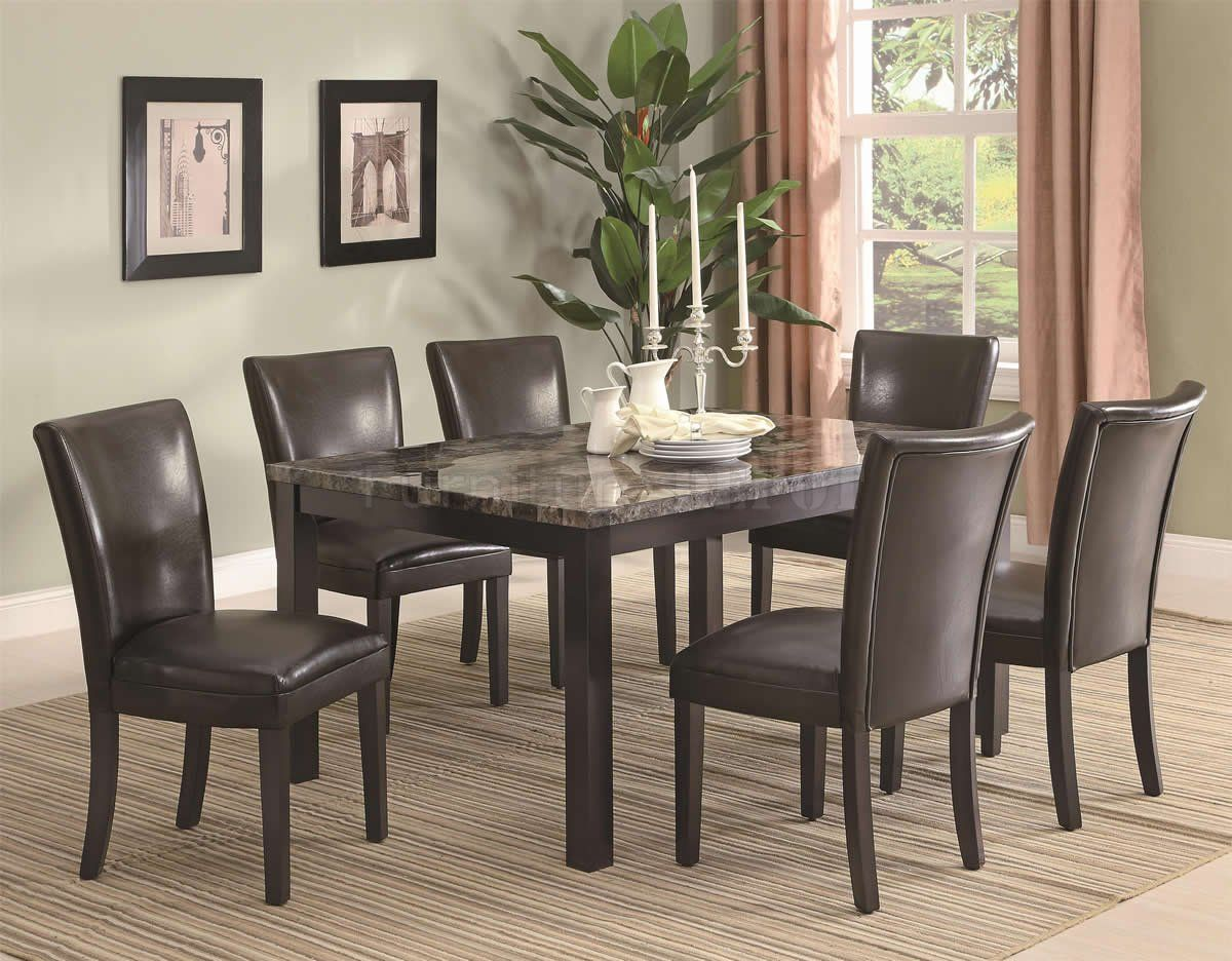faux marble dining room set | Cappuccino Finish & Faux Marble Top ...