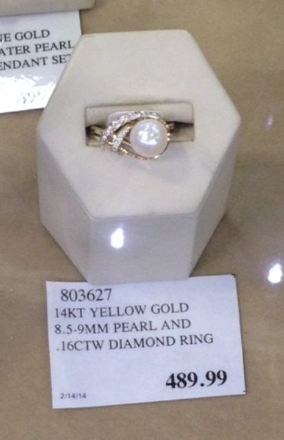 So In Love With This Pearl Ring I Saw At Costco Diamond Ring Rings Pearl Ring