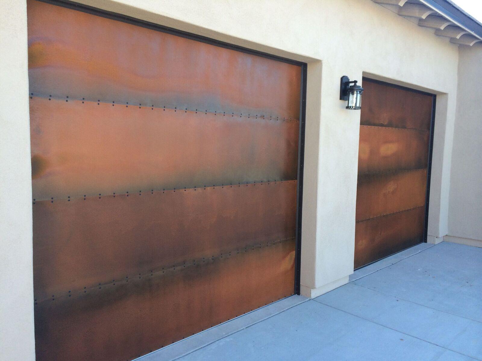 Custom Steel Garage Doors Handcrafted In Our Arizona Workshop Garage Door Luxury Home Custom Ho Metal Doors Design Garage Door Design Metal Garage Doors