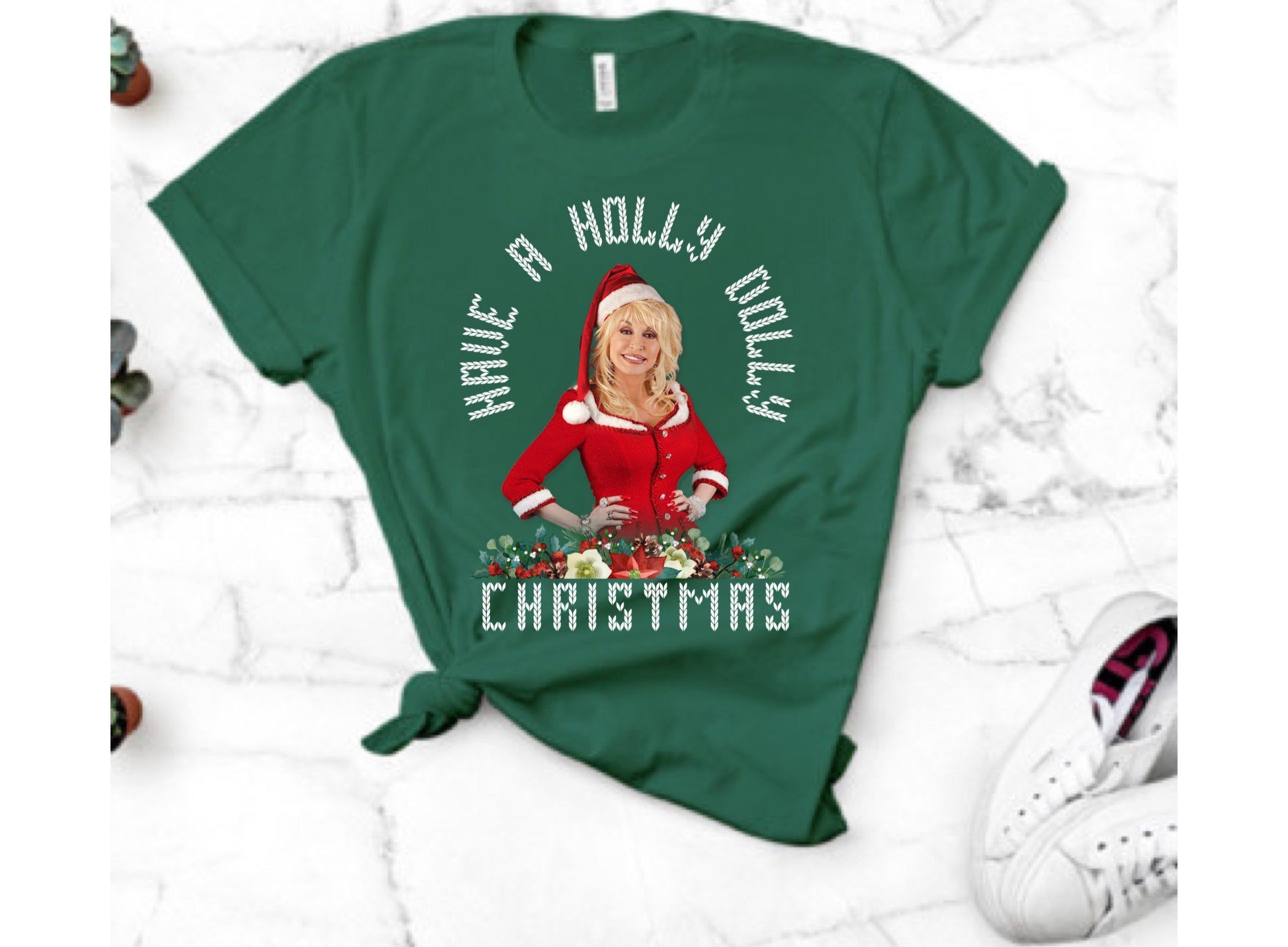 Have a Holly Dolly Christmas, Unisex Crewneck Tee, Other