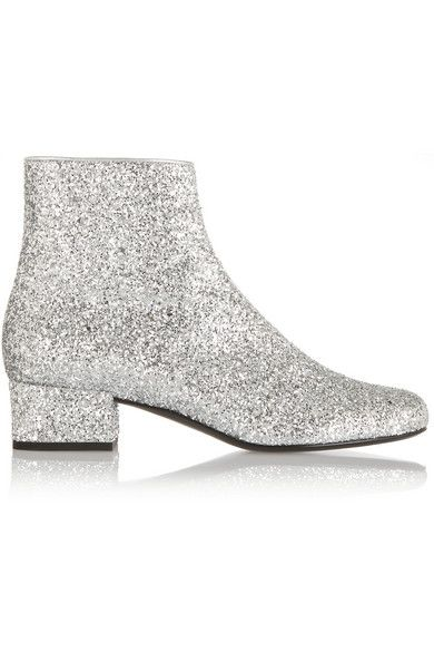 Boots, Silver ankle boots, Glitter boots
