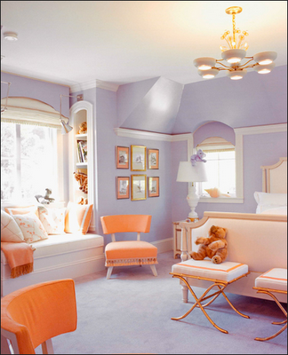 pretty and diff colors for Jill's room.  lavender and orange