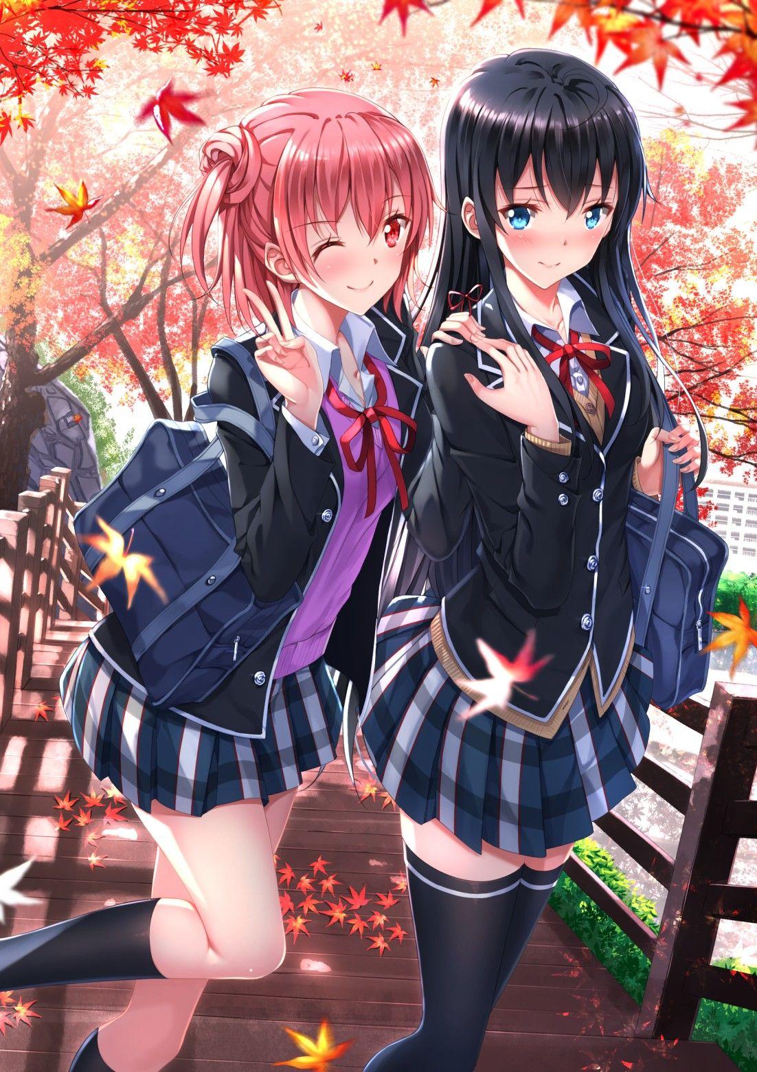 Yui x Yukino walking to school together trong 2019 Cô