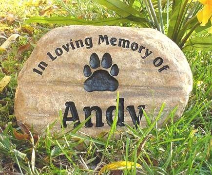 Dog Paw Print Pet Memorial Grave Marker Garden Stone River