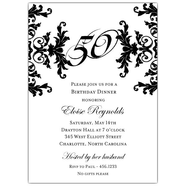 Black and White Decorative Framed 50th Birthday Invitations | Oh ...