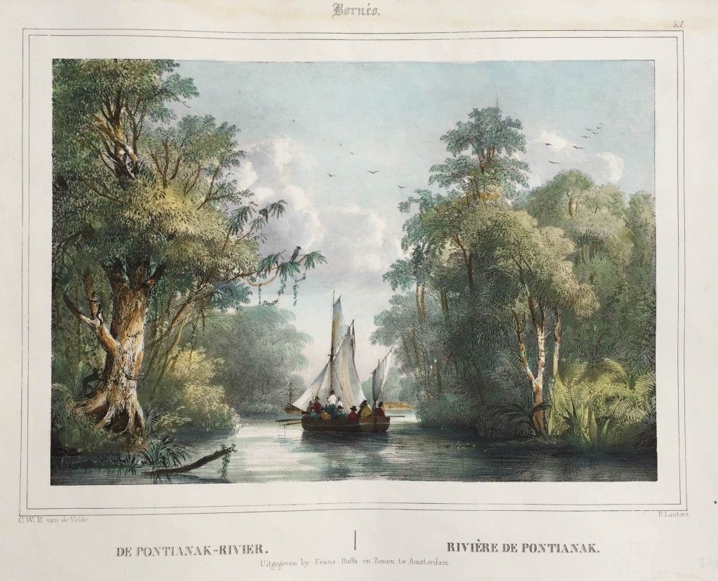 European Sialing boat – Pontianak River, Borneo Borneo. 43. DE PONTIANAK RIVER. RIVIÈRE DE PONTIANAK. A very fine and detailed black and white mid-19th century lithograph by Paulus Lauters (1806-1875) of a small European sialing...