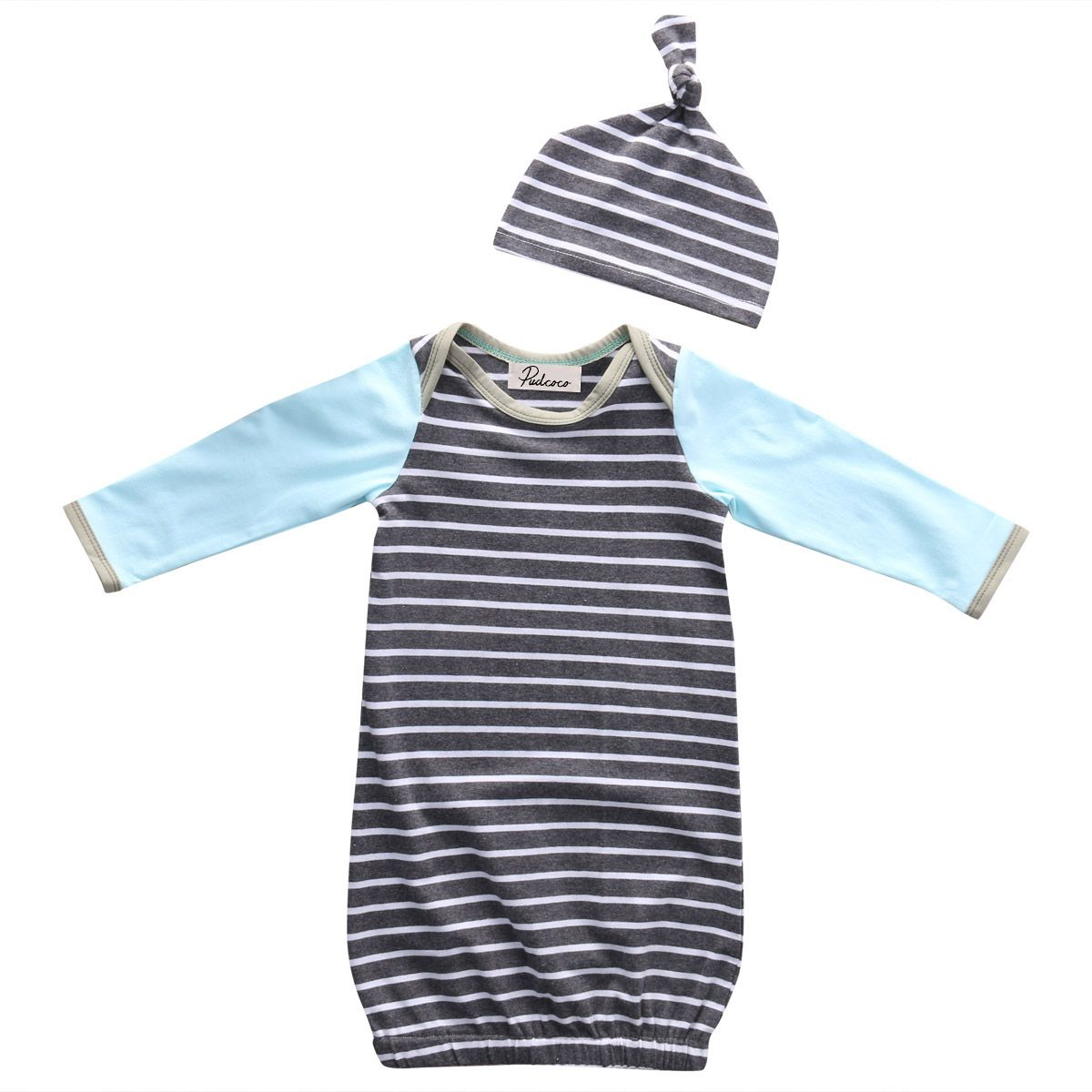 d0bb87a085 2017 pudcoco Newborn Infant Toddler Baby Girls Boy Unisex Casual Striped Pajamas  Sleepwear Set Nightgown Hat