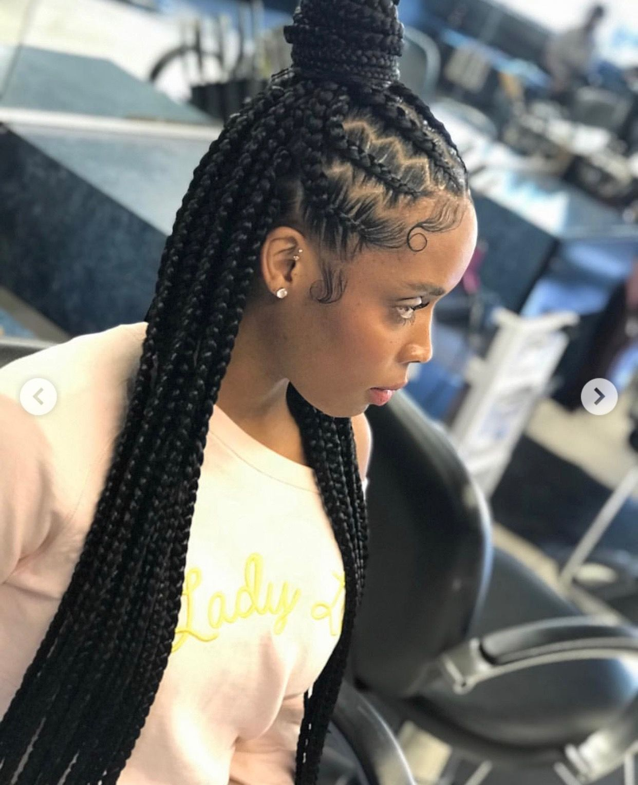 Different Look On Half Up Half Down Feed In With Box Braids Love The Zig Zag P Feed In Braids Hairstyles Cornrows Braids For Black Women Braided Hairstyles