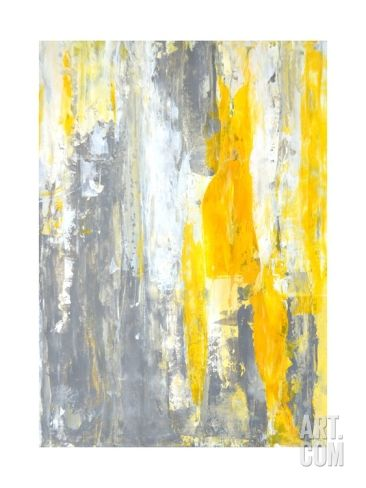 Grey And Yellow Abstract Art Painting Print By T30gallery At