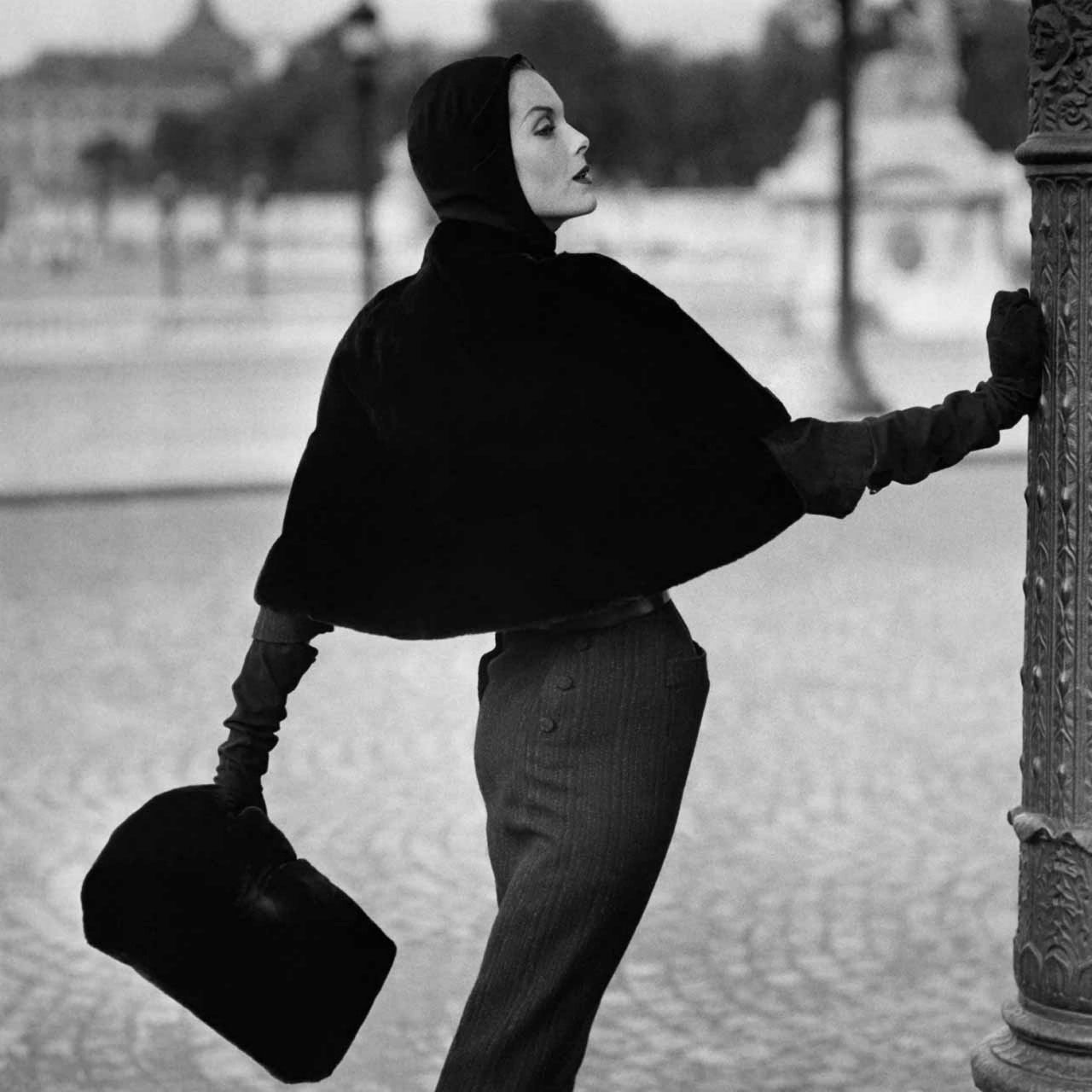 Anne Sainte-Marie in Pierre Balmain Ensemble, photographed by Henry Clarke, 1955